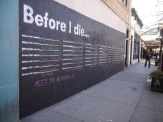 "Artist Candy Chang has teamed up with the Chicago Urban Art Society & youth-run art gallery Good News Only to bring her interactive public art project Before I Die to various Chicago neighborhoods. Passersby are confronted with a spray painted canvas bearing the repeated prompt ""Before I die…"" & can use provided chalk to complete the sentence, creating a public space for spontaneously shared dreams, hopes, fears and aspirations. You can follow the works progress at…"