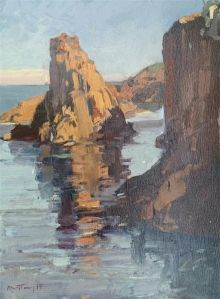 "Karl Terry:""Red Rocks, Theoule Sur Mere"". Oil."