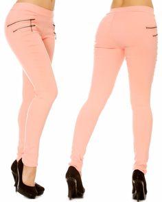 Jeans slim double zip latéral rose - bestyle29.com
