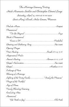 Pin by laree on wedding | Pinterest | Wedding program samples and ...