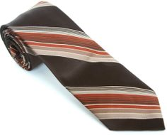 MARSHALL FIELD TIE 54L Brown Rust Gold Cream Striped Skinny Vintage Necktie