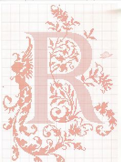 "cross stitch alphabet in 2 colors- very ornate monogram 26 single letters -- ""R"" #18"