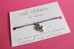 ♥ The message on the card is inspired by the charm and what it symbolises. For example : The Elephant - Keep me on your wrist you bring you Happiness and Good Luck. Good Luck Wishes, Make All, How To Make, Unicorn Jewelry, Wish Come True, Wish Bracelets, Unicorn Gifts, Travel Gifts, Wands
