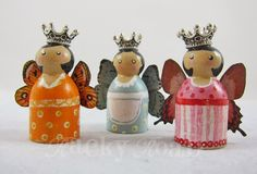 Fairies Three -tiny peg dolls (K.Batsel)