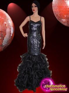 CHARISMATICO Dazzling black tape gown with beautifully ruffled floral bottom Drag Queen Costumes, Drag Queen Outfits, Sequin Gown, Prom Dresses, Formal Dresses, Showgirls, Dance Wear, Diva, Sequins