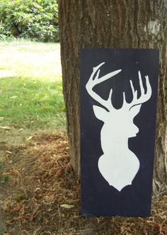 Deer Silhouette on Reclaimed Wood  Deer  Stag  by upcycledfarm