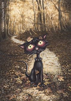 Misty Circus 1 - black cat by Victoria Frances