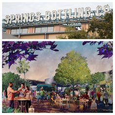 """Here's a look at some of the latest changes at Downtown Disney as it continues to undergo its transformation into Disney Springs at Walt Disney World! The """"Springs Bottling Co."""" marquee was recently installed above the future location of Morimoto Asia and the Food Trucks at Exposition Park on the West Side will open later this month."""