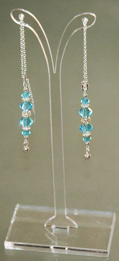 Blue Earrings Thread Earrings Swarovski Crystal by KwaiJewellery