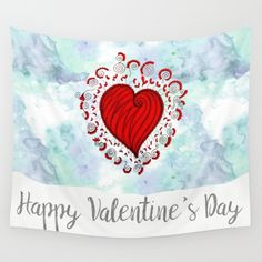 Watercolor zen style love heart Wall Tapestry Love bears all things, believes all things, hopes all things, endure all things, LOVE NEVER ENDS Happy Valentine's day