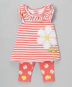 Look at this #zulilyfind! Orange Stripe Daisy Tunic & Leggings - Toddler & Girls #zulilyfinds