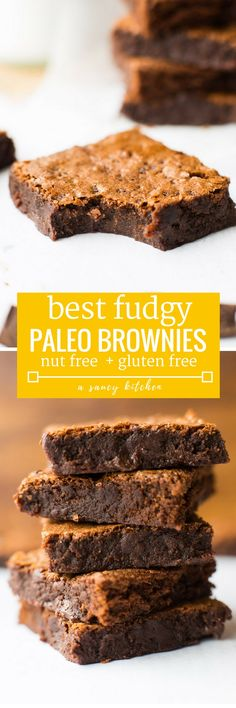 One bowl, super fudgy paleo brownies - made with only 7 ingredients and ready in 30 minutes or less! Gluten Free + Nut Free + Paleo