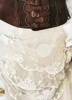 Love pairing lace with leather...