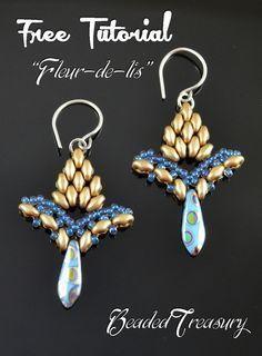 FLEUR-DE-LIS earrings with superduos ~Seed Bead Tutorials