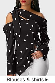 Super cute and sassy polka dot print blouse is ready to rock with you. Simple off shoulder blouse with a stylish wrap around look and slim fit. Polka Dot Blouse, Polka Dot Print, Polka Dots, Trendy Tops For Women, Blouses For Women, Denim Overall, Mode Top, Fashion Outfits, Womens Fashion