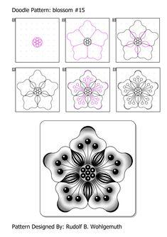 by step Kritzeln Zen Doodle Patterns, Doodle Art Designs, Zentangle Patterns, Flower Drawing Tutorial Step By Step, Flower Drawing Tutorials, Tangle Doodle, Tangle Art, Zentangle Drawings, Doodles Zentangles