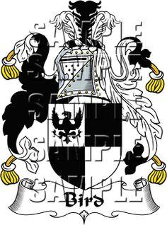 Bird Family Crest apparel, Bird Coat of Arms gifts