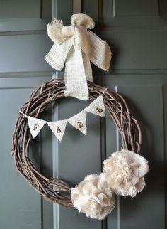 Burlap Blooms and Banner Fall Wreath-Simplicity, Modern, Natural, Rustic, Minimalist