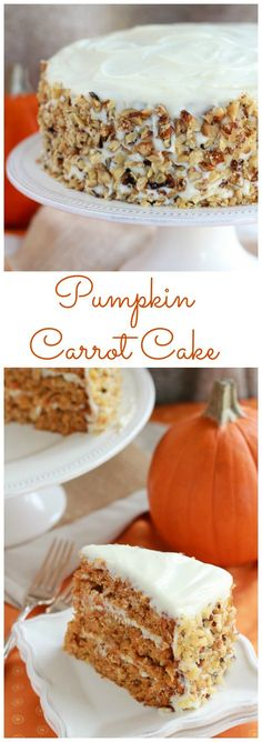 Pumpkin Carrot Cake with Cream Cheese Frosting - A moist layer cake filled with pumpkin, carrots, and spices. Cake for women Fall Desserts, Just Desserts, Delicious Desserts, Dessert Recipes, Yummy Food, Cupcakes, Cupcake Cakes, Poke Cakes, Layer Cakes