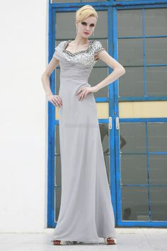 Sheath/Column Square Chiffon Ankle-length Silver Sequins Evening Dress