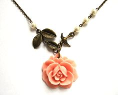 Flower Necklace with Bird & Pearls