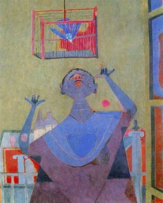 Rufino Tamayo - Expressionism Woman and Bird - 1944, Oil on canvas