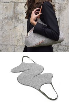 The UM shoulder bag unzips to a single flat surface for easier travel packing and storage. Featuring industrial grade wool felt and utilizing the zipper as the handle strap, the entire line of handbags is clever, minimal, and eco-friendly. | Josh Jakus for Actual