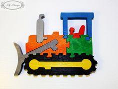 Puzzle en bois, bulldozer,voiture, chantier, construction, jouet enfant : Jeux, jouets par az-design