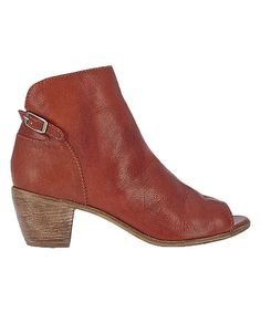 Look at this #zulilyfind! Rust Folk Peep-Toe Leather Bootie #zulilyfinds
