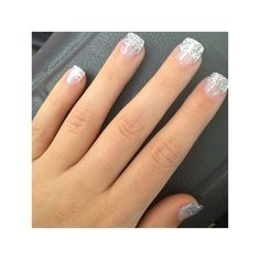 43 Trendy Nails Winter Glitter French Tips French Nails, Glitter French Tips, Glitter French Manicure, Short French Tip Nails, Glitter Nails, Gel Nails, Silver Glitter, Glitter Bomb, Silver Tip Nails