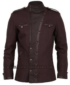 Love this jacket, so steampunk, slightly military. Chocolate brown striped brocade with faux leather accents. The Violet Vixen - Steamspark Blazer, $172.00 (http://thevioletvixen.com/clothing/mens/coats-and-jackets/steamspark-blazer/) jacket coat steampunk military brown mens