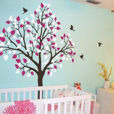 single tree with birds flying wall sticker by wall art   notonthehighstreet.com