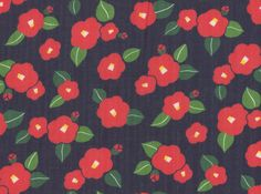 Flowers Double Gauze Navy and Red
