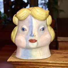 Ceramic head by Cindy Powers Red clay, handbuilt, cone Velvet underglaze. Disney Characters, Fictional Characters, Velvet, Clay, Ceramics, Artists, Disney Princess, Red, Clays