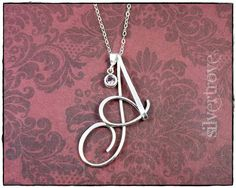 Personalized Necklace Cursive Initial Necklace by SilverTrove