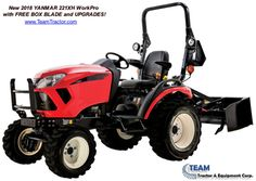 2018 Yanmar 22-1 HX WorkPro Tractor with Box Blade & Quick Hitch $10,950.00 Call Sean 843-321-1500 Yanmar Tractor, Tractors For Sale, Equipment For Sale, Diesel Engine, Outdoor Power Equipment, Blade, Engineering, Box