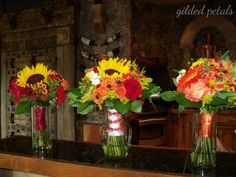 Gilded Petals yellow, orange, red and green fall bouquet www.gildedpetals.com