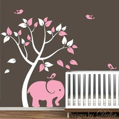 ♥♥♥♥ Included ♥♥♥♥ 1 Tree - tall by wide (Comes in separate pieces for easier installation) 1 Elephant - tall by wide 4 Birds Leaves Directions for applying your decals ♥♥♥♥ Colors ♥♥♥ Nursery Wall Decals, Nursery Room, Vinyl Wall Decals, Girl Nursery, Girl Room, Wall Stickers, Elephant Colour, Elephant Theme, Elephant Nursery