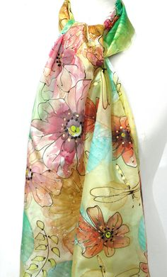 Silk Scarf. Whimsy Floral Scarf. Hand Painted Scarf. by TeresaMare