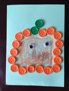 #Pumpkin craft for #Halloween | Here Come the Girls  #preschool Aww, what a cute button craft for kids!
