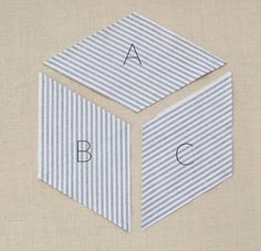 Sewing Block Quilts Striped Tumbling Blocks Quilt- How Tos - Quilting Templates, Quilting Tutorials, Quilting Projects, Quilting Designs, Sewing Projects, Hexagon Quilt, Quilt Block Patterns, Pattern Blocks, Hexagon Patchwork