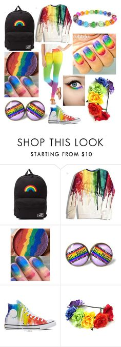 """""""back to school lgbt pride"""" by mynameissatanlmao ❤ liked on Polyvore featuring Vans and Converse"""