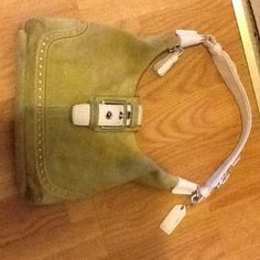 Coach suede with leather trim 5033 hand bag Good used condition. Please look at picture for condition. Very nice inside and out. Dirt and staining inside and out. Needs cleaning. Hand bag only. Smoke free home. Please tag for any reason.Thank you. Coach Bags