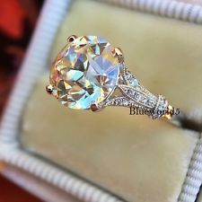 Art Deco 1.50CT Off White Real Moissanite Engagement Ring 925 Sterling Silver