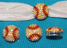 Set of 2 Rhinestone Sports slide charm Charms yellow Softball  8mm bracelet Hair Ties on Etsy, $4.00