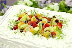 四角一段タイプのウェディングケーキ