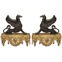 Pair of Fine Early 19th Century Bronze Ornaments. France. (19th c.)