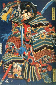 渡辺の源吾綱 猪の熊入道雷雲(葛飾北斎の画)の拡大画像