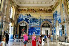 Azulejos of Sao Bento in Porto, Portugal.