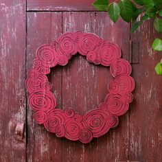 This pretty wooden rose wreath would work well on your front door, in your entrance way, living room, kitchen or special gift for someone you